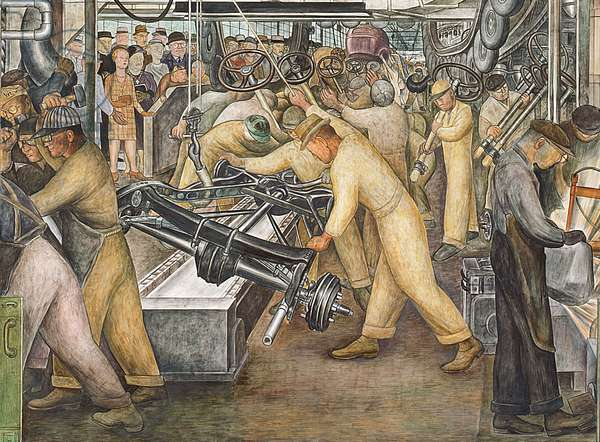 South Wall of a Mural depicting Detroit Industry, 1932-33 (fresco) (detail of 139315)