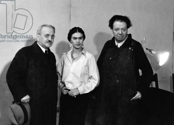 Albert Kahn, Frida Kahlo and Diego Rivera in the mural project studio at the Detroit Institute of Arts, 1932 (b/w photo)