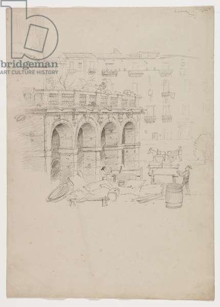 Arcade in Palermo, Sicily, 1842 (pencil on paper)