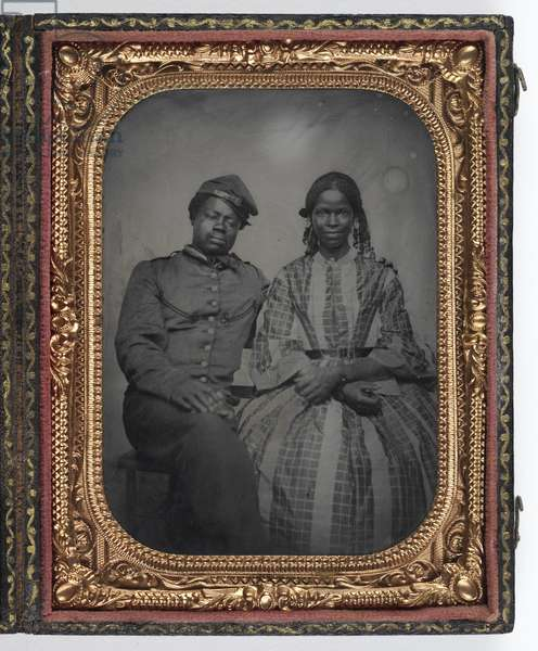 Soldier and Companion, c.1861-65 (tintype with brass mat & leather case)