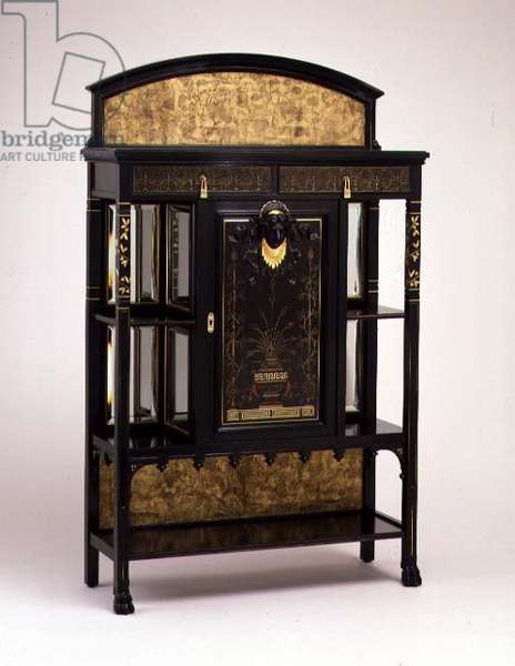 Cabinet with painted and gilded decoration, manufactured by the Herter brothers, 1875-1880 (ebonised cherry)