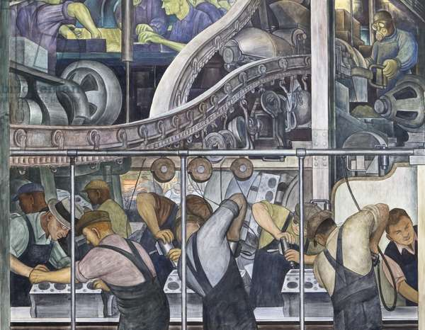 Detroit Industry, North Wall, 1932-33 (fresco) (detail of 139314)