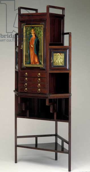 Corner Cabinet, 1873 (rosewood, painted panels, brass)
