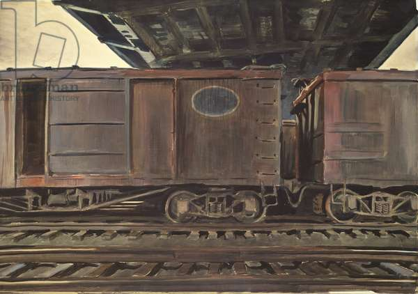 Freight Cars Under a Bridge, 1933 (w/c on paper)