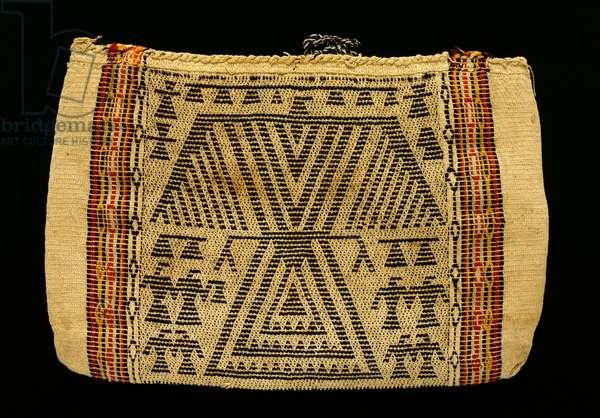 Storage Bag, Potawatomi Culture, c.1890 (cotton twine & wool yarn)