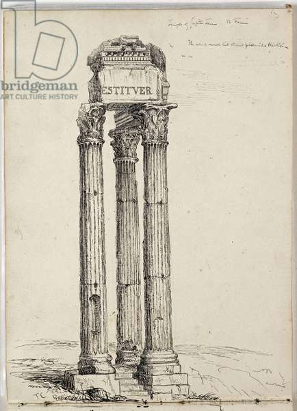 Temple of Vespasian, Called the Temple of Jupiter Tonans, Roman, Forum, c. 1831 (pen & ink over pencil on paper)