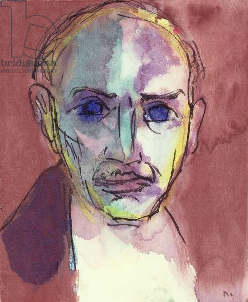 Self Portrait, c.1917 (w/c, pen & ink on paper)
