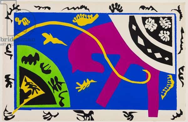 Le cheval, l'écuyère et le clown, 1943 (pochoir printed in color ink on wove paper)