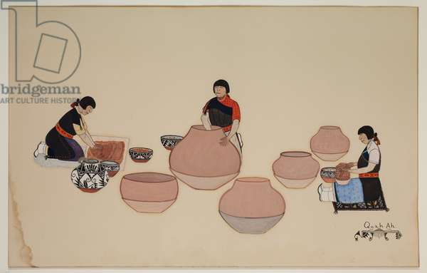 Women Working Clay, Shaping Vessels, early 20th century, early 20th century (casein on paper)