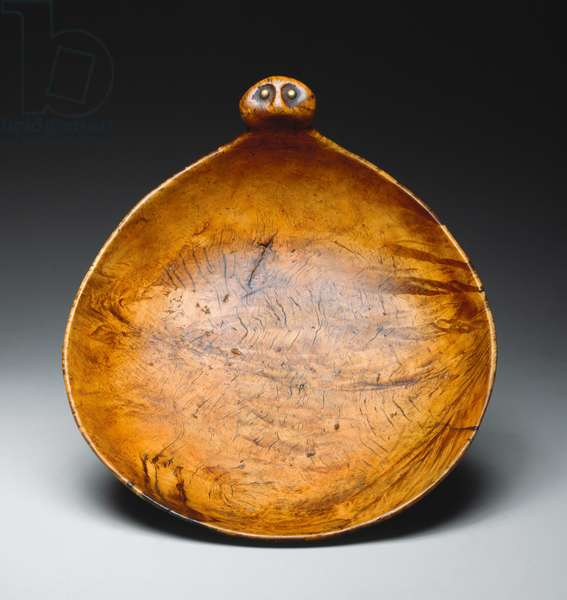 Bowl, Yankton Sioux, c.1850 (carved & polished maple with brass tacks)