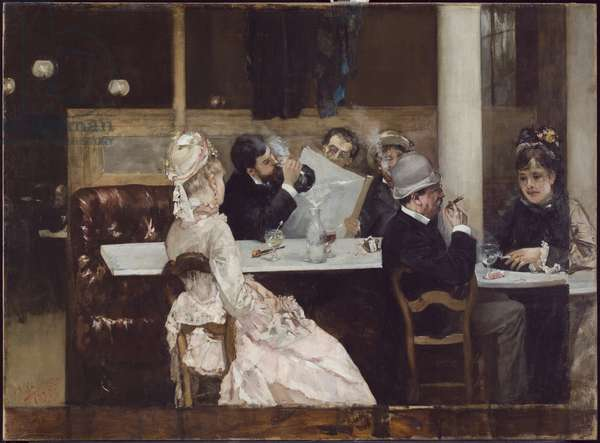 Cafe Scene in Paris, 1877 (oil on canvas)