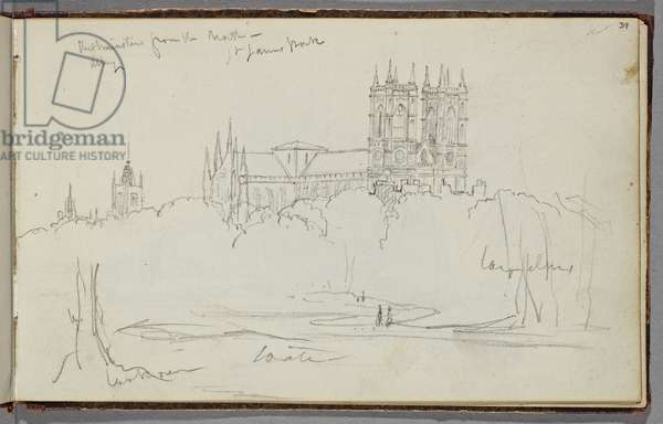 Westminster Abbey from the North, St. James Park, c.1830 (graphite pencil on off-white wove paper)