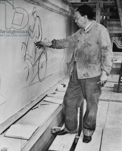 Diego Rivera working Detroit Industry Murals, c.1932 (b/w photo)