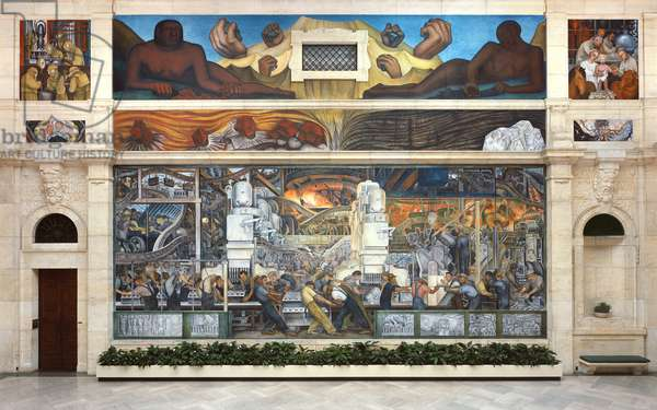 North wall of a mural depicting Detroit Industry, 1932-33 (fresco) (see also 139315-7 & 112945 & 47)