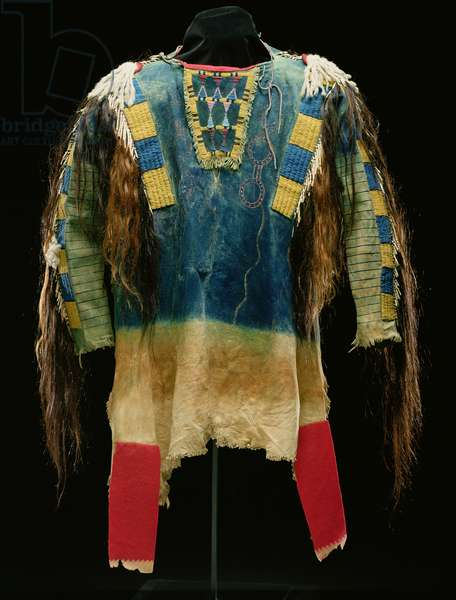 Man's shirt, Cheyenne, c.1860 (buckskin, wool, ermine skin and human hair)