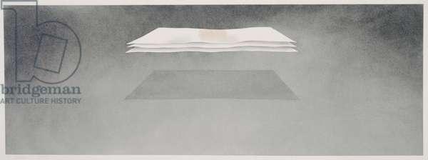 Three Sheets with Castor Oil, 1973 (gunpowder & castor oil on paper)