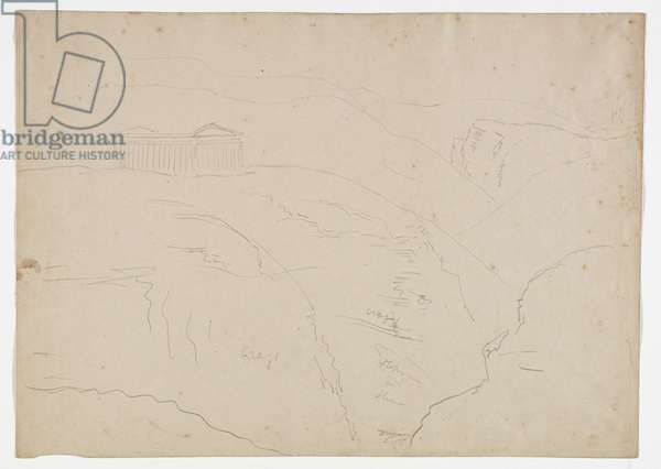 Temple at Segesta, Sicily, 1842 (pencil on paper)