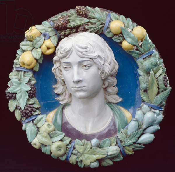 Head of a Youth (enamelled terracotta)