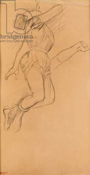 Mademoiselle La La at the Circus Fernando, 1879 (black crayon on brown paper)