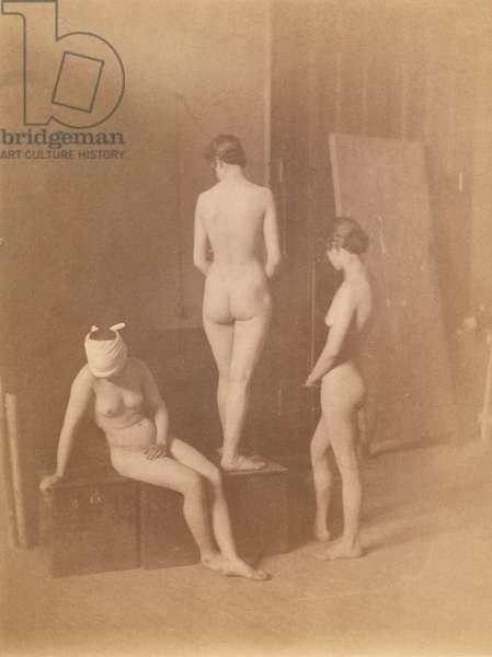 Three Female Nudes, c.1883 (b/w photo)