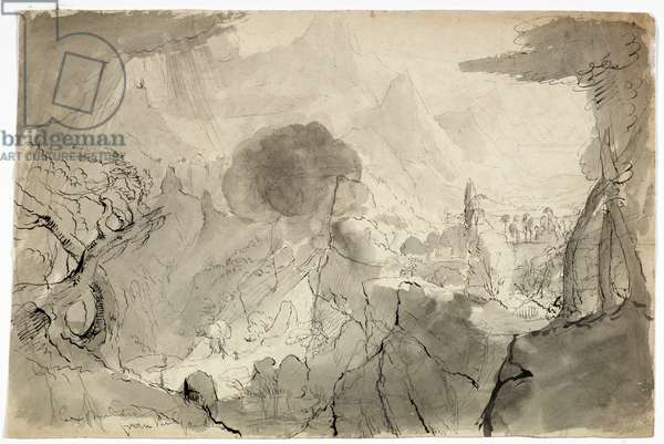 Study for Expulsion from the Garden of Eden, 1828 (black wash, pen and black ink, and graphite on cream wove paper)