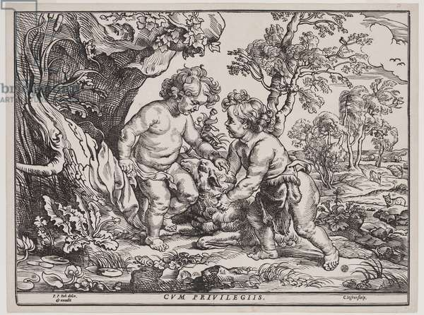 Infant Christ and Saint John Playing with a Lamb, engraving by Christoffel Jegher (1596-1653), after 1632 (woodcut)