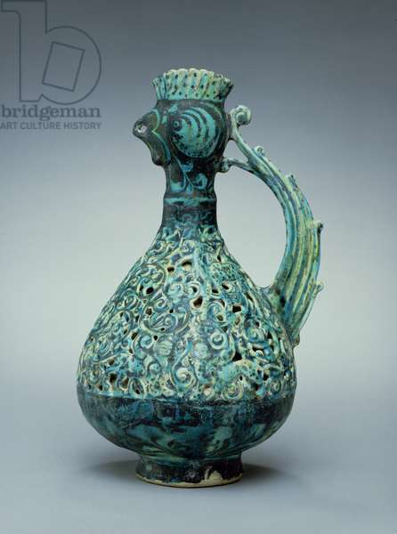 Double-Shelled Ewer, Persian, late 12th/early 13th century (underglazed, carved and open-work decoration)
