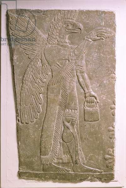 Eagle-headed winged genius, Assyrian, Mesopotamian, 883-859 BC (limestone)