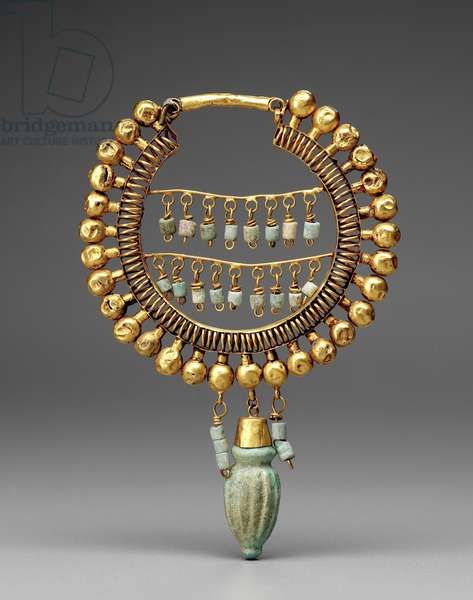 Earring, 550-330 BC (gold & faience)