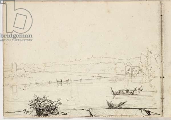 Untitled (study of a river scene with boats) 1831 (pen & ink over pencil on paper)