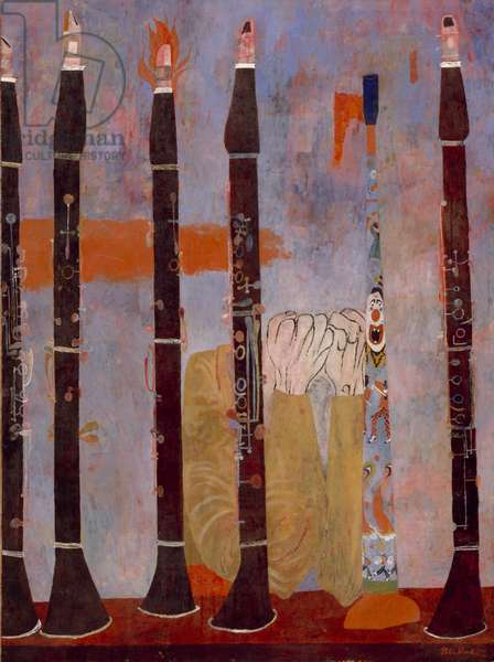 Composition for Clarinets and Tin Horn, 1951 (tempera on panel)