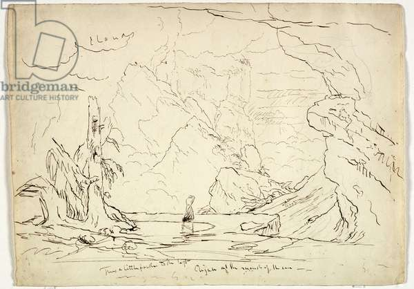 Elijah at the Mouth of the Cave, c.1829 (pen & ink over graphite on paper)