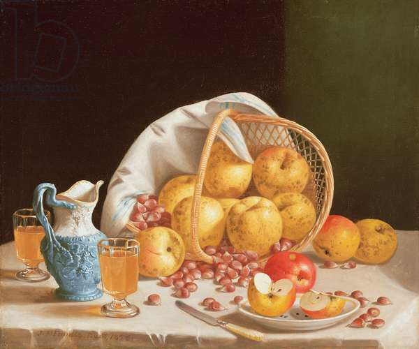 Still Life with Yellow Apples, 1858 (oil on canvas)