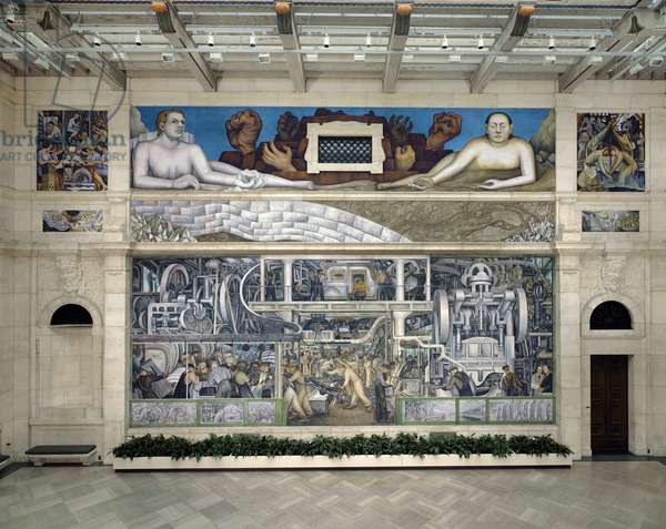 South Wall of a Mural depicting Detroit Industry, 1932-33 (fresco) (see also 139314, 139316-17 & 112945 & 47)