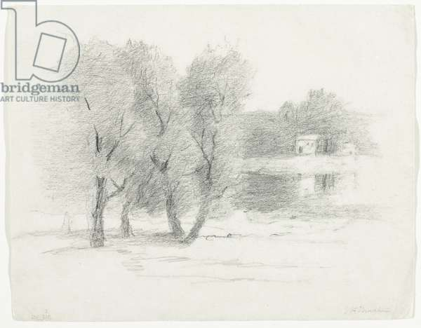 Landscape, late 19th-early 20th century (pencil on paper)