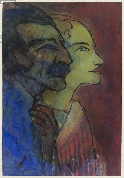 Portrait of the Artist and His Wife, c.1932 (w/c & pen and black ink on japanese paper)