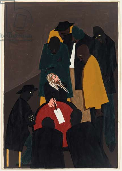 John Brown made many trips to Canada organizing for his assault on Harpers Ferry, 1941 (gouache on white wove paper)