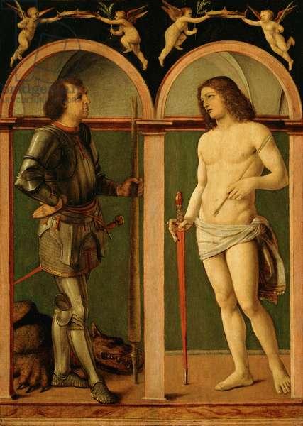 Saint George and Saint Sebastian (oil on wood panel)