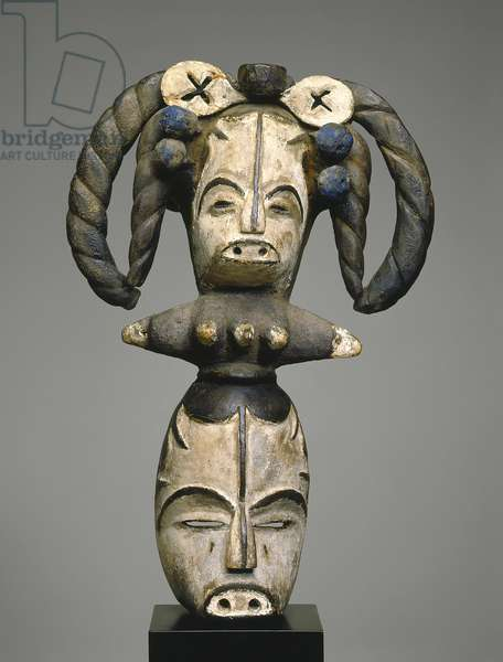 Mask with Janus Headdress (wood with pigment)