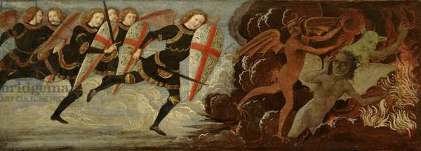 St. Michael and the Angels at War with the Devil (tempera on wood panel)