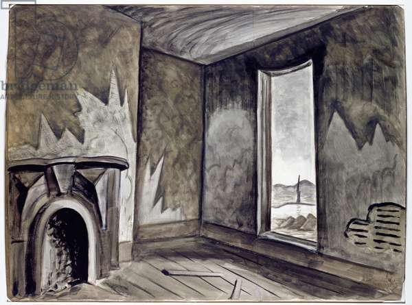 In a Deserted House, 1918-39 (w/c, black ink & black crayon, over pencil on paper)