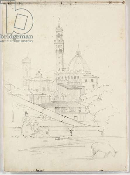Untitled (partial view of Florence) 1831 (pencil on paper)