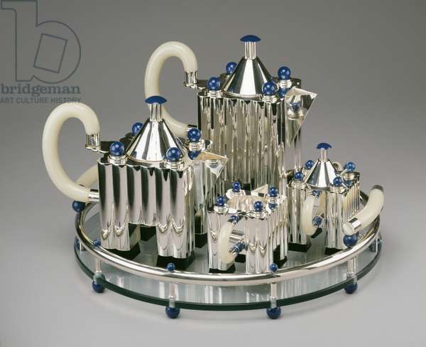 Coffee and tea service, 1983 (silver plate, lacquered aluminium, bakelite, glass & mock ivory)