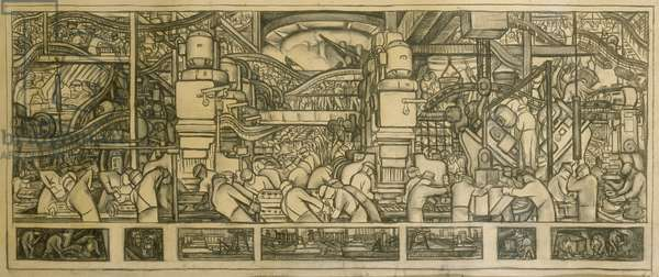 Presentation drawing of the automotive panel for the north wall of the Detroit Industry Mural, 1932 (charcoal on paper)