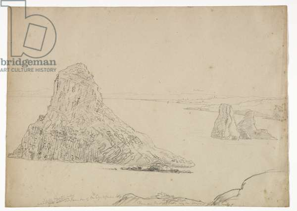 Cyclopes's Islands, Sicily, 1842 (pencil on paper)