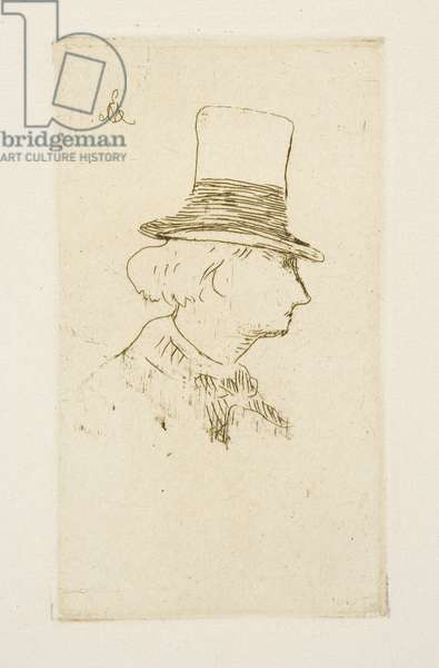 Baudelaire in profile wearing a hat, 1862 (etching)