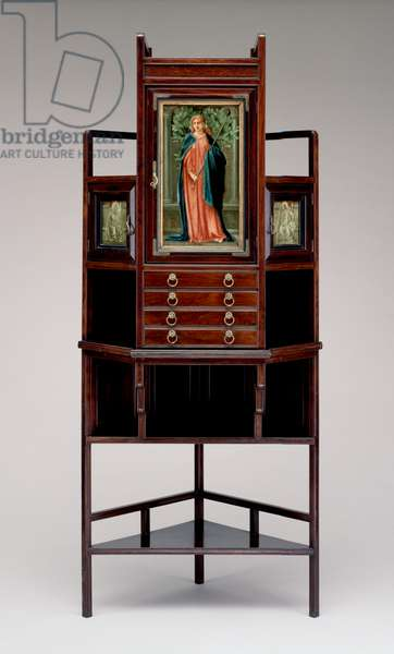 Corner cabinet with painted panels and brass fittings (1833-86) 1873 (rosewood)