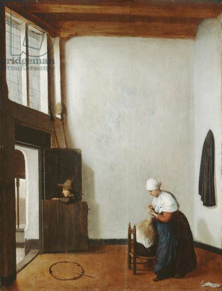Interior with a woman combing a little girl's hair, c.1662 (oil on oak panel)