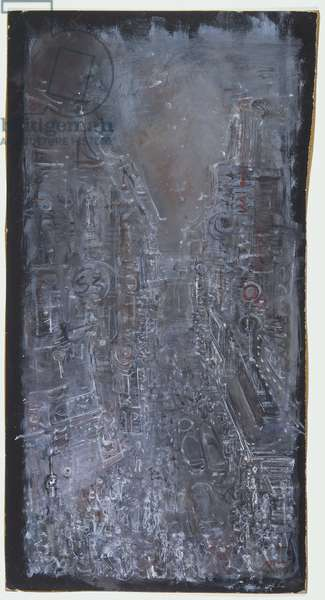 San Francisco Street, 1941 (gouache on black illustration board)