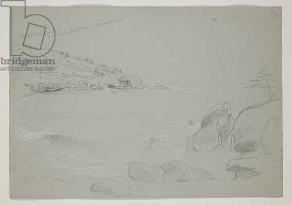 Sand Beach, Mount Desert, 1844 (pencil with white chalk on paper)